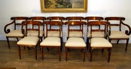 Set 10 Regency Mahagoni geschnitzt Esszimmerstühle Sitze Stuhl