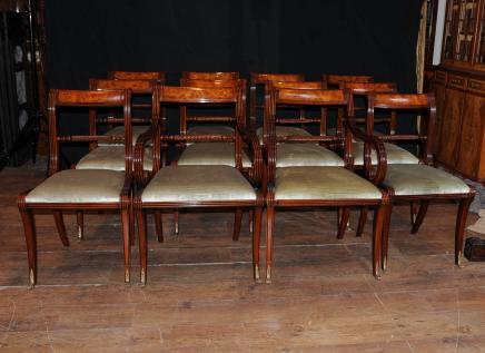 Set 12 englischen Regency Rope Zurück Esszimmerstühle