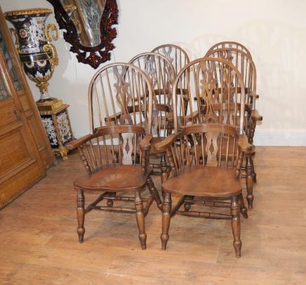 Set 6-Arm Windsor Stühle Sessel Eiche Bauernhaus