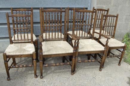 Set 8 Englisch Oak Spindleback Stühle Bauernspindel