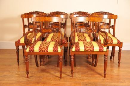 Set 8 Nussbaum Inlay Regency Esszimmerstühle Stuhl Englisch