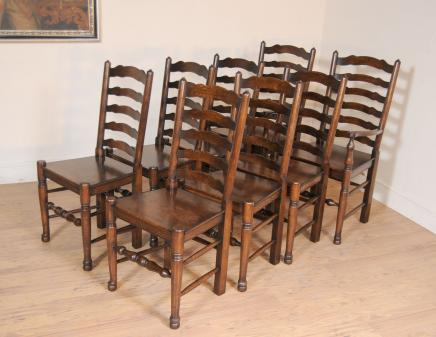 Set 8 Oak Ladder Stühle Küche Dining Chair Bauernmöbel