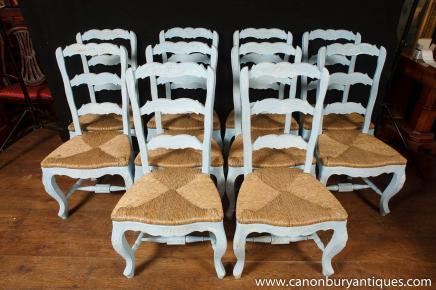Set 8 Painted Französisch Ladderesszimmerstühle Küche Eiche Stuhl