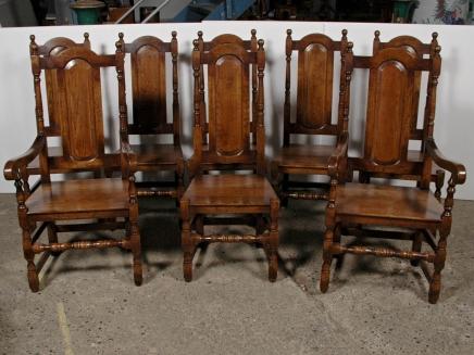 Set 8 elisabethanischen Englisch Tudor Oak Dining Chairs Stuhl