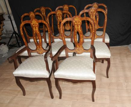 Set 8 italienische Intarsien Esszimmerstühle Inlay Arm Chair Diners