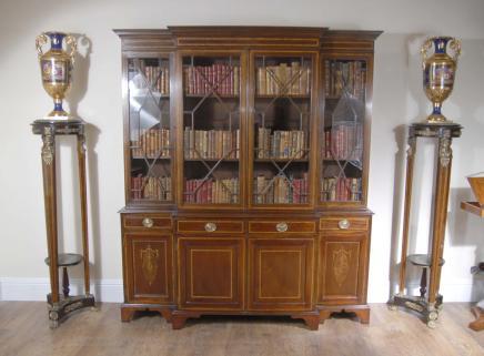 Sheraton Breakfront Bücherregal Book Case Englisch Möbel