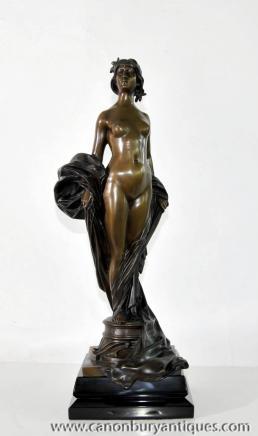 Signiert Französisch Jugendstil Bronze Nude Female Figurine Statue