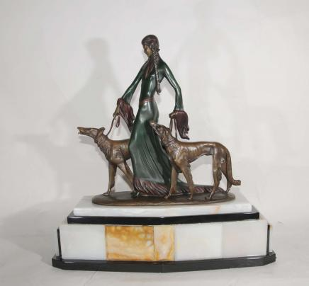 Signiert Poertzel Art Deco Bronze Aristokraten Barsoi Hunde Figurine