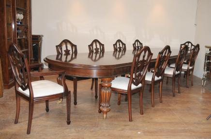 Viktorianischen Dining Table Set 10 Bundes Stühle Suite