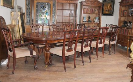 Viktorianischen Dining Table Set Chippendale-Stühle Set Suite Mahagoni