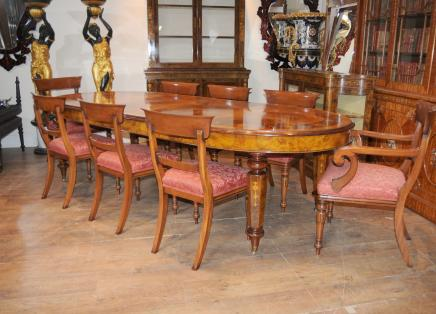 Viktorianischen Dining Table William IV Stühle Set Walnut