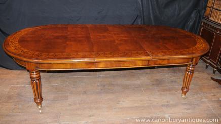Viktorianischen Walnut Esstisch Ausweitung Tabellen Intarsien