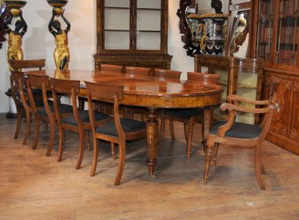 Viktorianischen Walnut Tisch & Stuhl Dining Set Suite