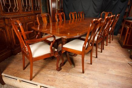 Walnut Dining Set Regency Tisch & Queen Anne Stühle Suite
