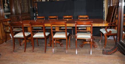 Walnut Regency Dining Set Pedestal Tabelle 12 Passende Stühle