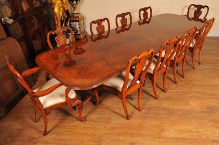 Walnut Regency Esstisch Set Queen Anne Stühle Tische Möbel Suite