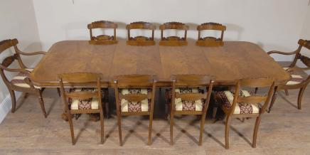 Walnut Regency Esstisch und 10 William IV Stühle Set