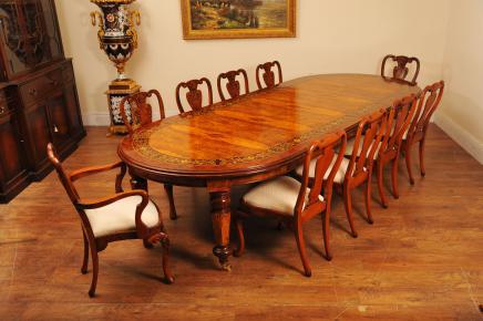 Walnut italienischen Intarsien Esstisch Queen Anne Stuhl Set