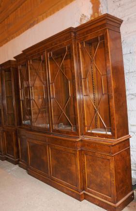 Walnut viktorianischen Breakfront Bücherregal Bücherschränke Chippendale-Möbel