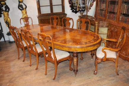 Walnut viktorianischen Dining Table Queen Anne Stuhl Set