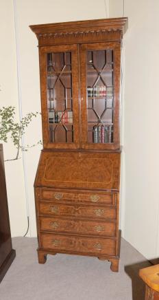 Walnut viktorianischen Sekretär Bücherschrank Schreibtisch Bureau