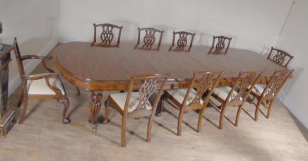 XL Englisch Mahagoni viktorianischen Dining Table & Set Chippendale Stühle
