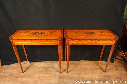 Zwei Sheraton Painted Console Tabellen Halle Tisch Regency Musikinstrumente