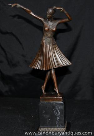 Art Deco Bronze Statue Chiparus Figur 1920er Jahren Französisch