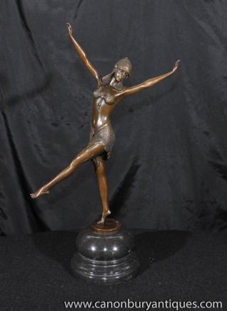 Art Deco Bronze Tänzerin ägyptischen Statue Figurine von Chiparus