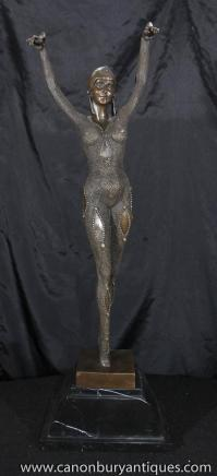 Bronze Figurine Starfish Dancer Signed Chiparus Art-Deco-Statuen
