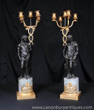 Bronze Paar Kerzenleuchter Reich Männlich Weiblich Kerzen, Figuren