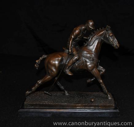 Bronze-Polo-Spieler Statue Pferd Jockey Figurine Casting