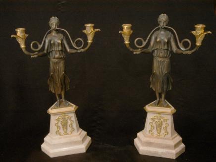 Bronze Reich Maiden Kerzenleuchter Kerzenständer Marmor