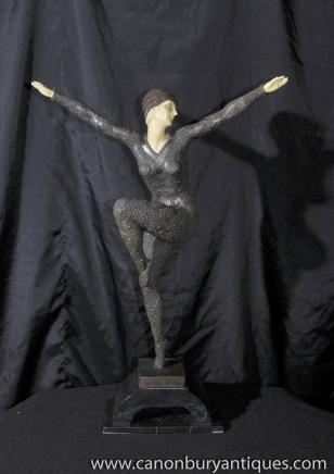 Demetre H. Chiparus Art Deco Bronze Tänzerin Statue Figurine Kapurthala
