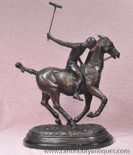 Englisch Bronze-Polo-Spieler-& Pferde Casting Statue