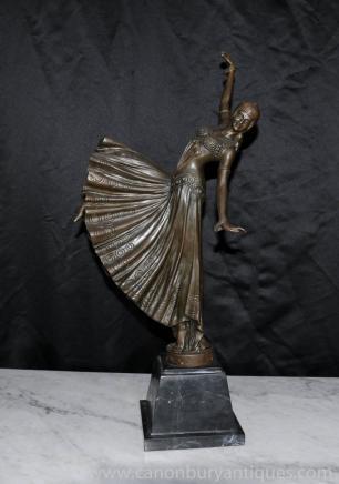 Französisch Art Deco Bronze Tänzerin Chiparus Figur Statue