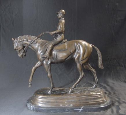 Französisch Bronze Casting Pferd Jockey Mene Skulptur Pferde