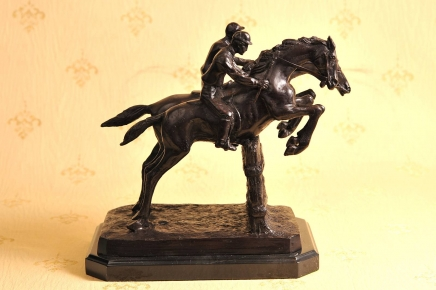 Französisch Bronze Horse Jockey Signed Bonheur Steeplechase