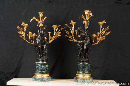 Paar Französisch Bronze Cherub Kerzenleuchter Unterzeichnung Moreau