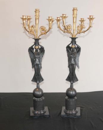 Paar Französisch Bronze Engel Kerzenständer Kerzen