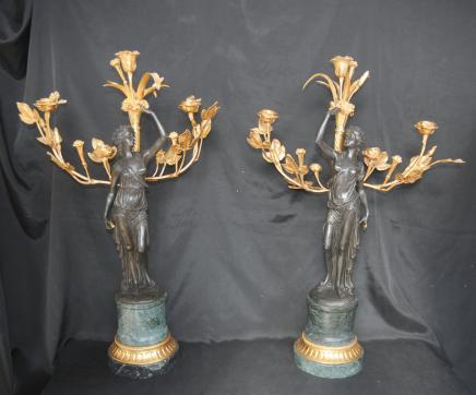 Paar Französisch Bronze Kandelaber Ormolu Clodion weiblich