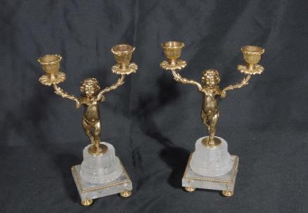 Paar Französisch Reich Cherub Bergkristall Kerzenleuchter