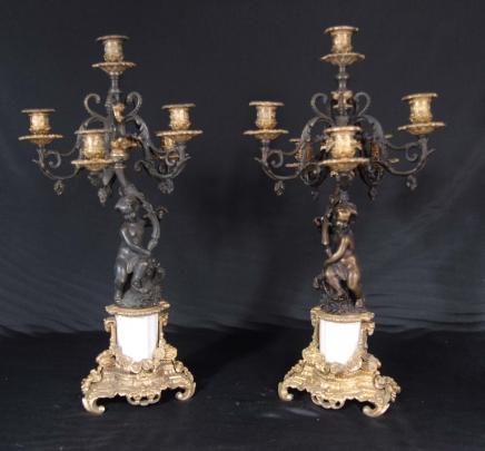 Paar Italienisch Bronze Cherub Kerzenleuchter Candle Sticks Putti