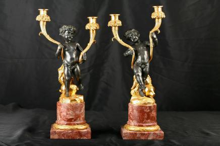 Paar Französisch Bronze Cherub Kerzenleuchter Candle Sticks