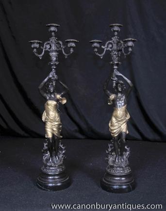 Paar Jugendstil Bronze Kerzenleuchter Männlich Weiblich Figuren torcheres