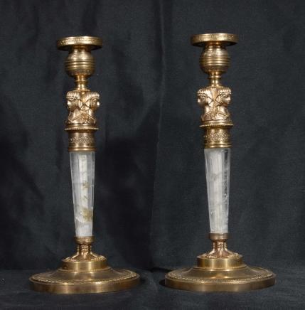 Pair Französisch Reich Bergkristall Pharo Kerzenständer Candle
