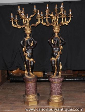 Pair XL Geschnitzte Italienisch Cheurb Kerzenleuchter Mohren Figuren Lampen Leuchten