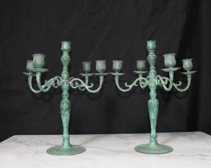 Pair viktorianischen Bronze Leuchter Kerzenleuchter