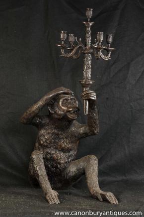 Quirky Bronze Kandelaber Affe Ape Statue Candle Primas Casting