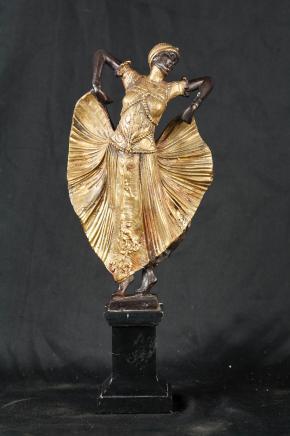 1920er Art Deco Bronze Statue Figurine Chiparus signiert